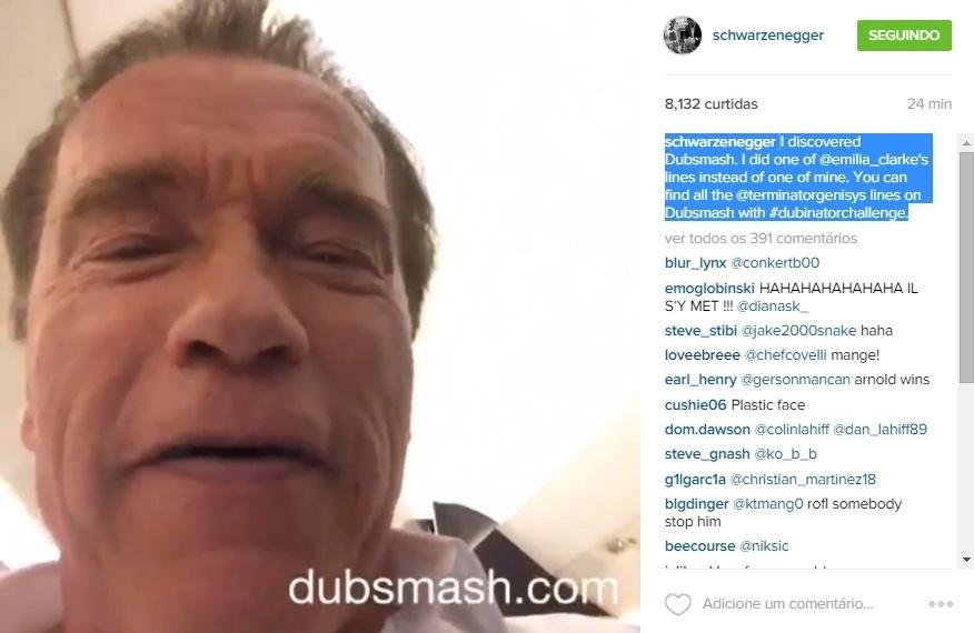11.jun.2015 - Arnold Schwarzenegger finalmente descobriu o Dubsmash