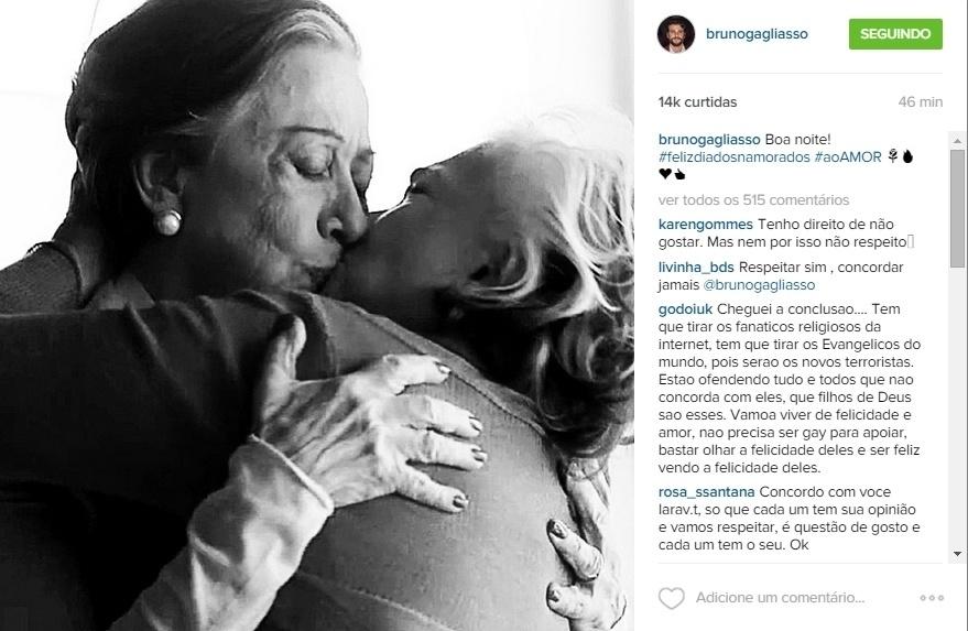 Bruno Gagliasso decidiu apoiar o amor e celebrou o Dia dos Namorados, comemorado nesta sexta-feira, publicando uma foto do beijo gay entre Fernanda Montenegro e Nathalia Timberg, que foi ao ar no primeiro capítulo de
