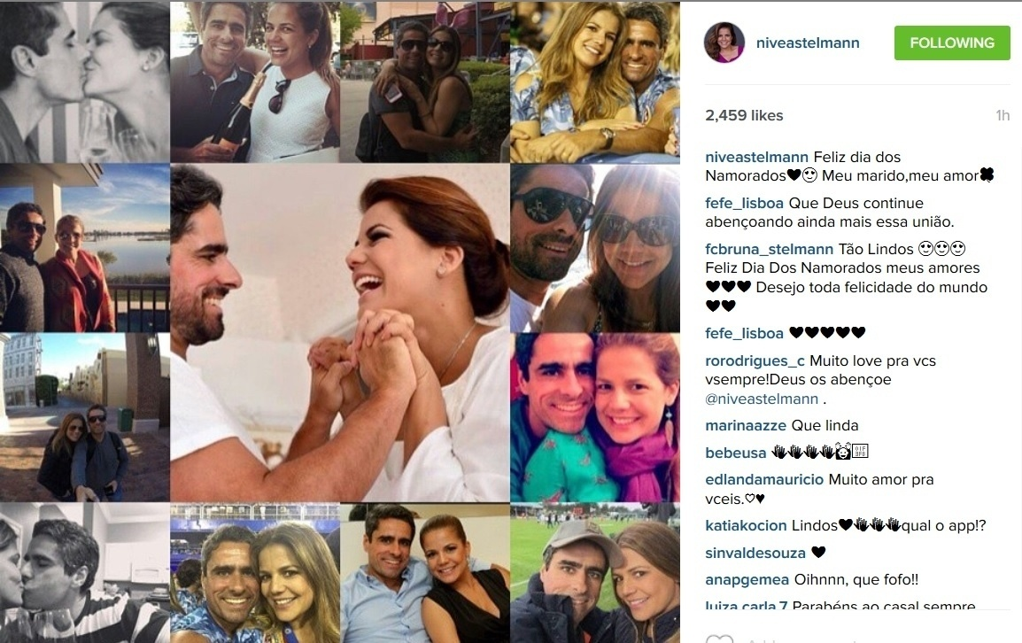 Casada há dois anos com o empresário Marcus Rocha, Nívea Stelmann homenageou o seu marido no Instagram.