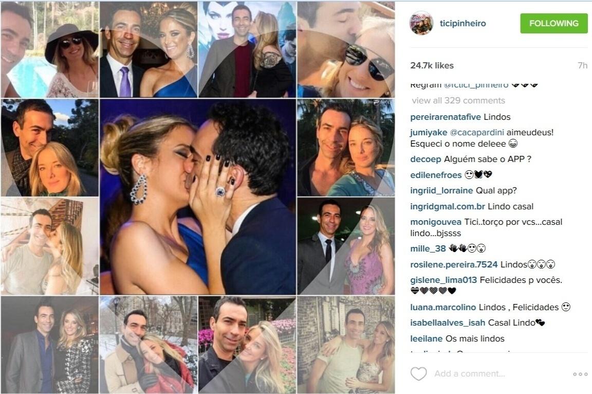 Na manhã desta sexta-feira, Ticiane Pinheiro fez uma homenagem ao jornalista César Tralli em seu Instagram ao compartilhar uma imagem que reúne vários momentos do relacionamento do casal.