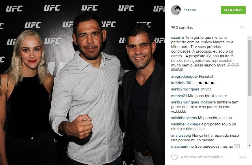 15.jun.2015 - O ator Juliano Cazarre brincou com a sua semelhança física e a dos Minotauro e Minotouro, lutadores de UFC. Em foto publicada em seu Instagram, na noite desta segunda-feira, ele brincou:
