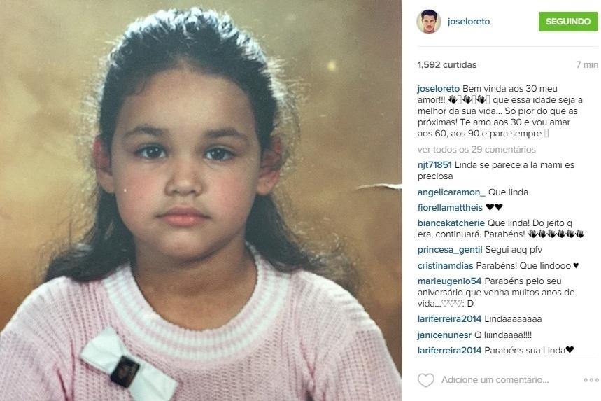 16.jun.2015 - Para celebrar o aniversário da mulher, que comemora 30 anos nesta terça-feira, José Loreto compartilhou uma imagem de Débora Nascimento quando criança em seu Instagram. Na legenda, o ator fez uma homenagem:
