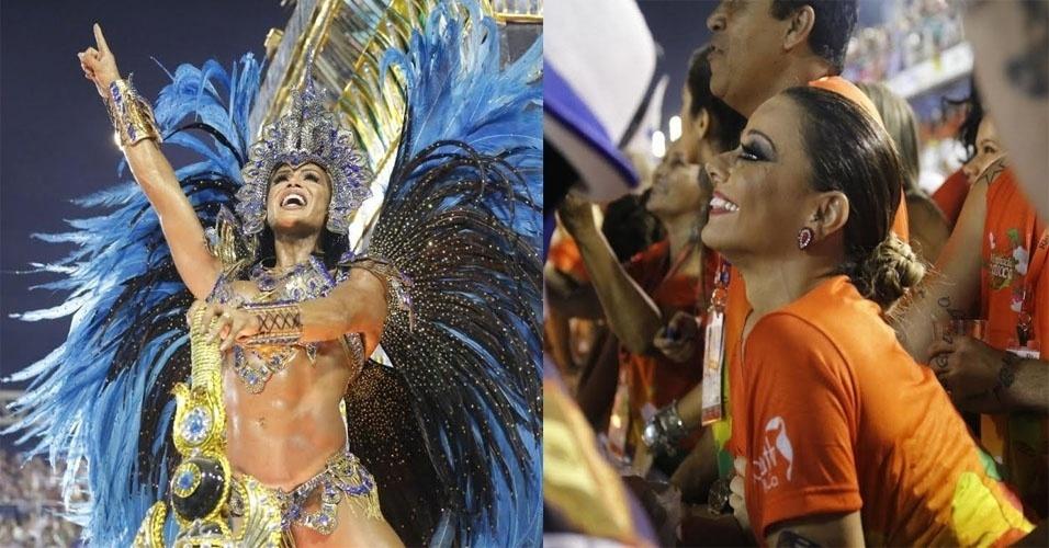 9.fev.2016 - Sorridente, Viviane Araújo assiste Gracyanne Barbosa, mulher do seu ex-marido, desfilar pela Portela na Sapucaí