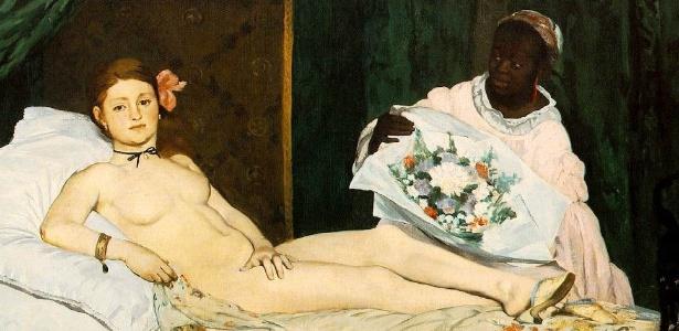 Deborah de Robertis posou nua como a prostituta Olympia do quadro de Manet (acima)