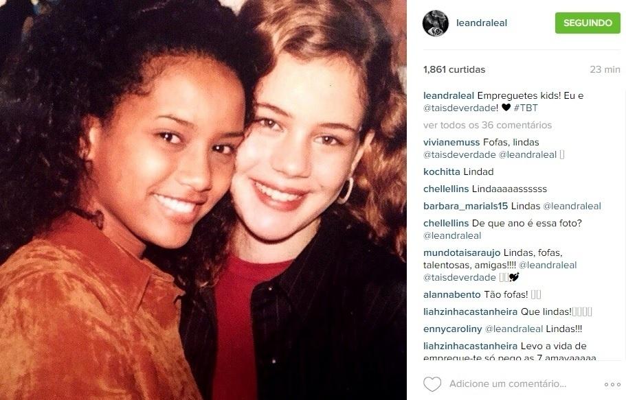 20.ago.2015 - Leandra Leal resgata foto antiga com Taís Araújo e, na legenda, faz menção à novela