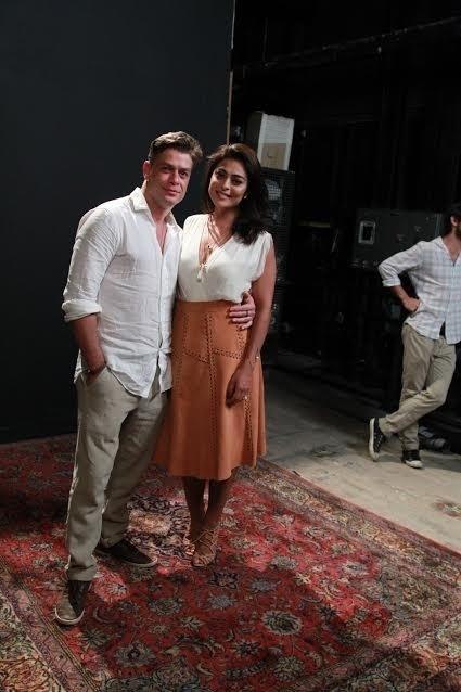 20.out.2015 - Fábio Assunção e Juliana Paes posam juntos na apresentação de
