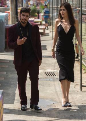 """Grego (Caio Castro) e Margot (Maria Casadevall) em gravação de """"I Love Paraisópolis"""""""