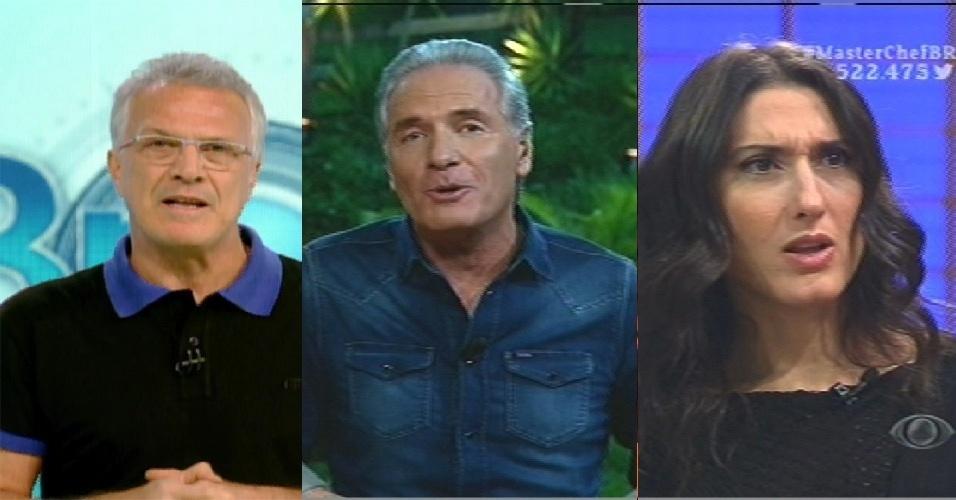 Pedro Bial, Roberto Justus e Paola