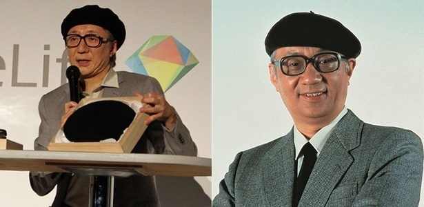 Makoto Tezuka (à esquerda), filho de Osamu Tezuka (à direita), apareceu praticamente idêntico ao pai em evento para divulgar teste de DNA
