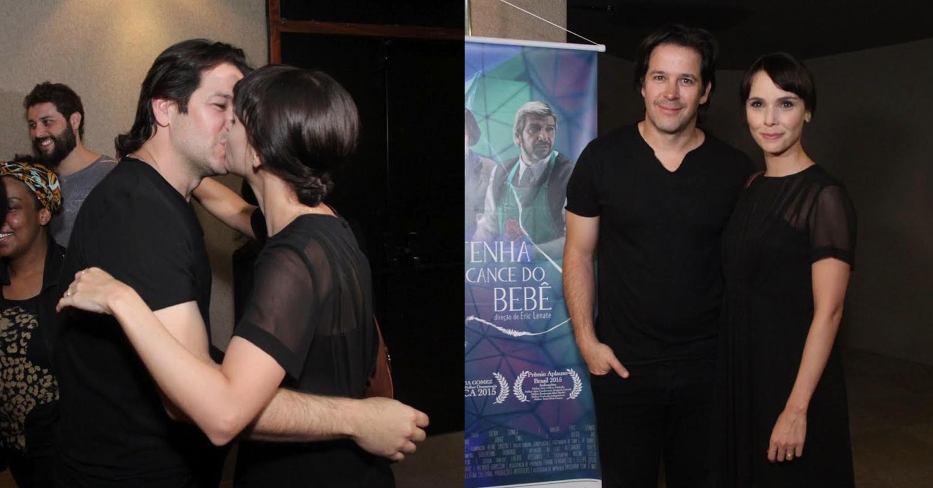 13.ago.2015 - Na noite desta quinta-feira, Débora Falabella e Murilo Benício trocaram após a estreia da peça