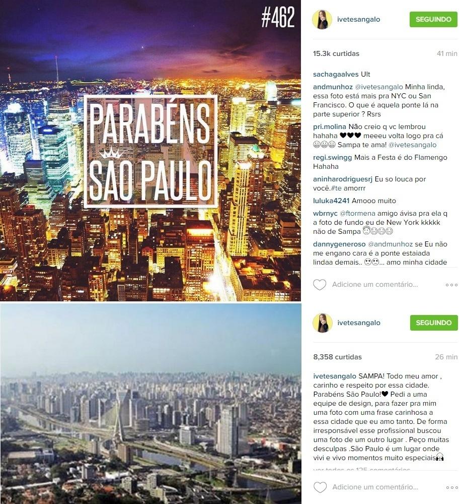 Ivete Sangalo se desculpa por foto de Nova York para homenagear São Paulo