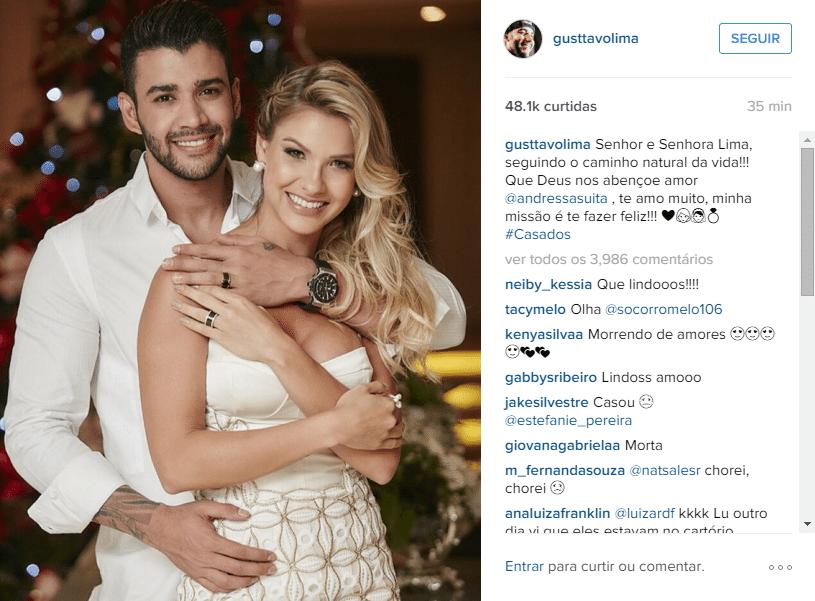 15.dez.2015- Gustavo Lima surpreendeu seus fãs ao publicar uma foto com Andressa Suita e contar que está casado, na noite desta terça-feira. Na mensgaem, o cantor diz estar muito feliz.