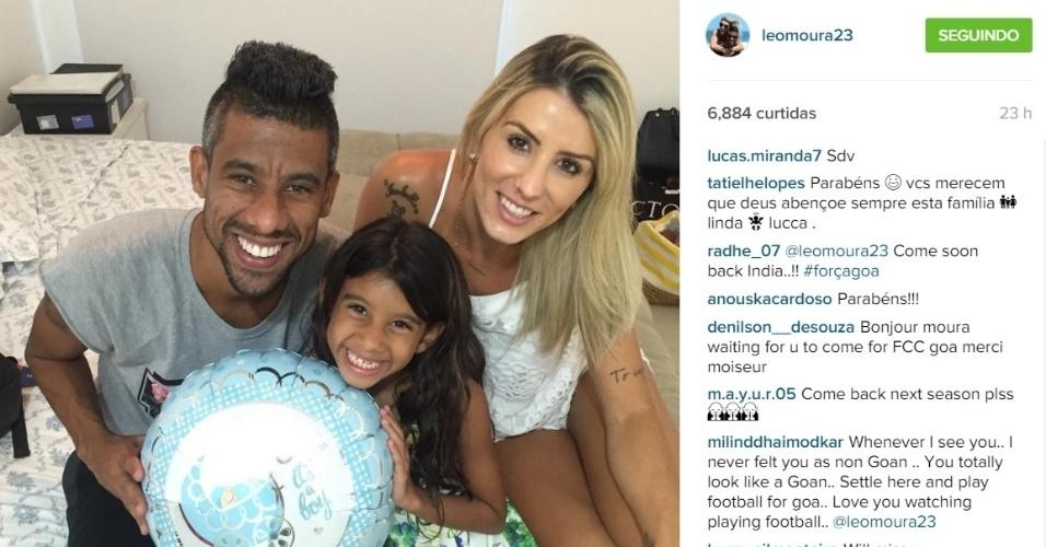 23.dez.2015 - Leó Moura já sabe o sexo do seu futuro bebê. Na tarde desta quarta-feira, o ex-jogador do Flamengo anunciou em seu perfil no Instagram que será pai de um menino.