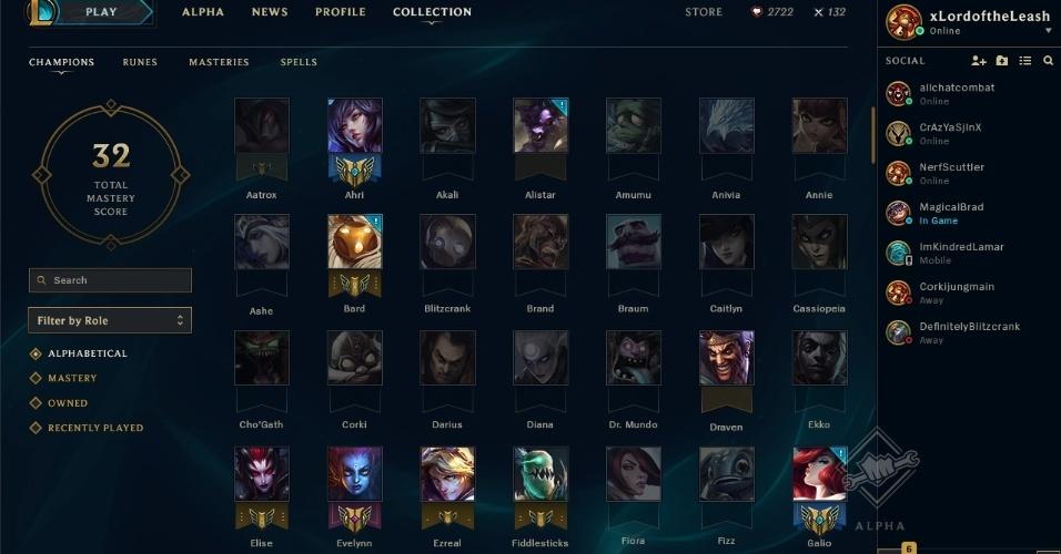 A página de coleção mostra diversos detalhes do jogo, como os campeões que você já comprou e conseguiu uma maestria