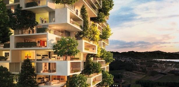 O futuro edifício em Lausanne, na Suíça, se transformará em uma floresta vertical