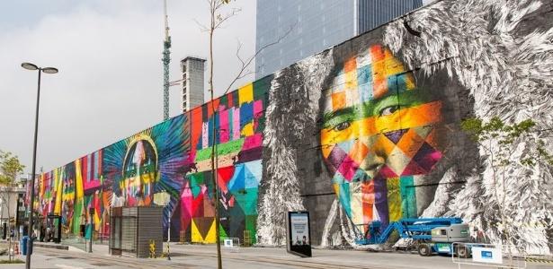 """Saiba onde ver o mural """"Etnias"""", de Kobra, e outros grafites no Rio"""