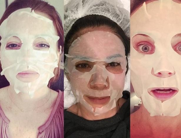 Kelly Osbourne (à esq.), Lindsay Lohan, Luciana Gimenez e Diana Kruger são adeptas da praticidade da máscara descartável