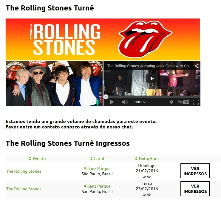 Imagem do site Tickets RJ, que vende supostos ingressos para shows dos Stones em SP
