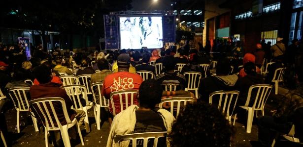"""Exibição do filme """" Sabotage: Maestro do Canão"""" na região conhecida como Cracolândia, no centro de São Paulo, nesta quinta-feira (2)"""