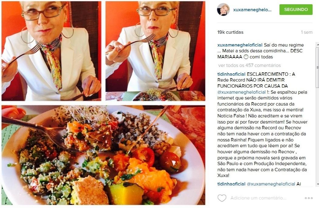 Xuxa publica foto de boca cheia devorando um pratão de comida: