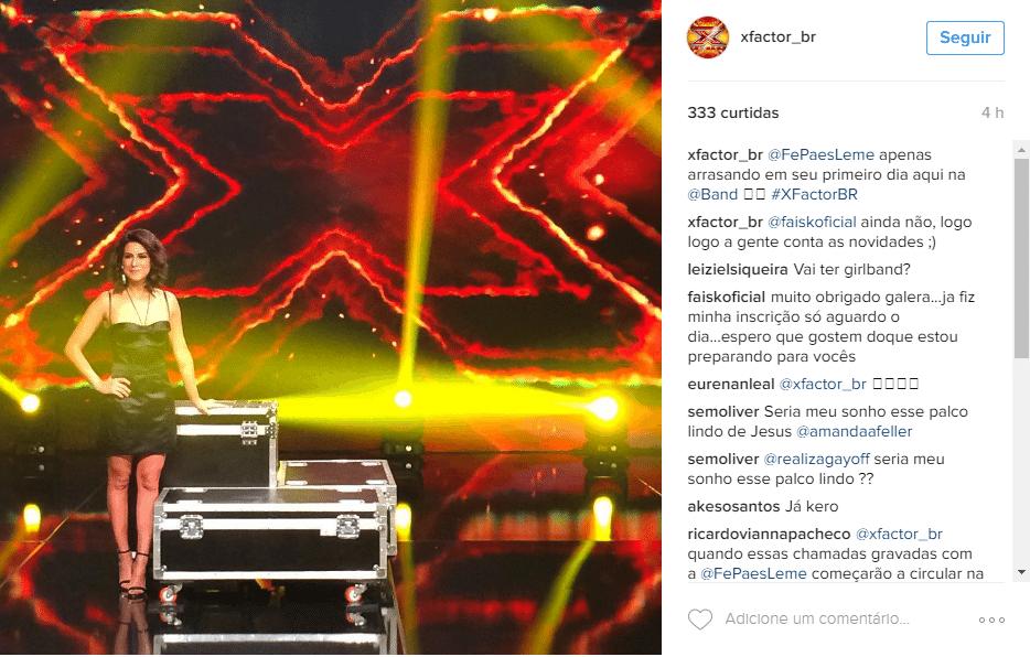 10.jun.2016 - Fernanda Paes Leme gravou as primeiras chamadas da versão brasileira da competição musical X-Factor, que será exibido na Band a partir