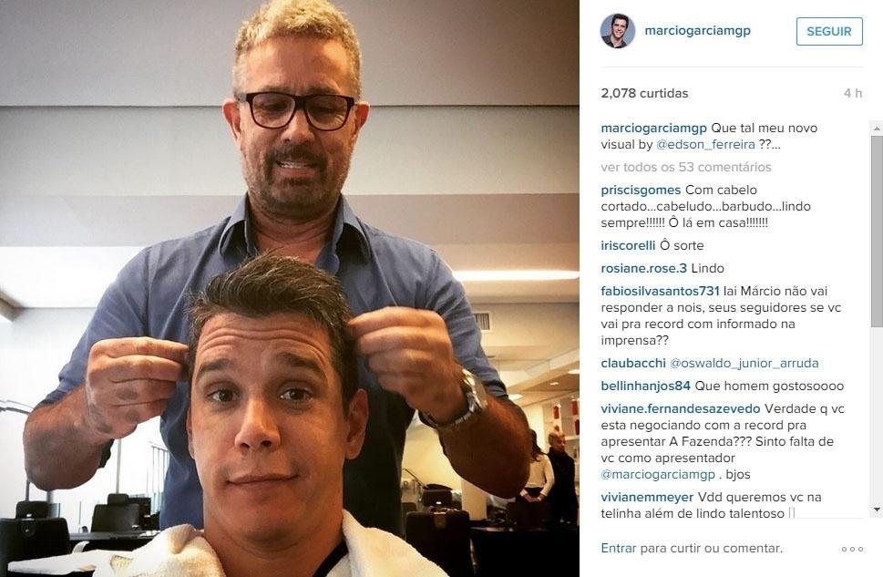 7.jul.2015 - Márcio Garcia mudou o visual com o cabeleireiro Edson Ferreira