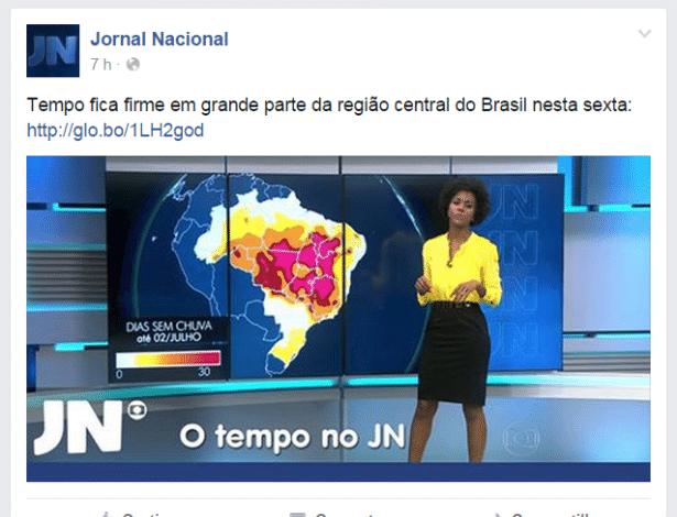 """Reprodução da página oficial do Facebook do """"Jornal Nacional"""" com foto de Maju Coutinho"""