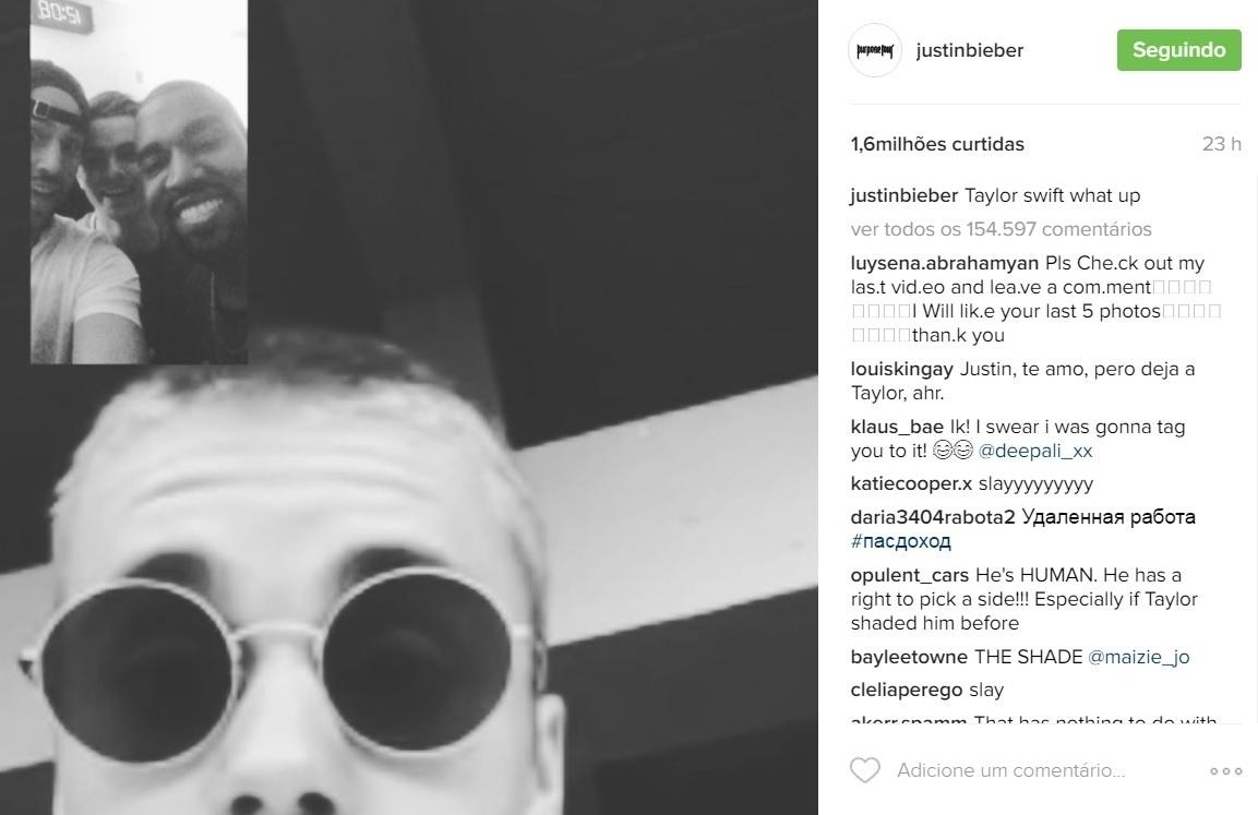 2.ago.2016 - Nesta segunda-feira, Justin Bieber deu uma alfinetada em Taylor Swift ao publicar no Instagram um print de um vídeo chamada com Kanye West.