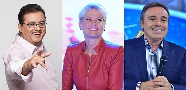 Os apresentadores da Record Geraldo Luís, Gugu e Xuxa