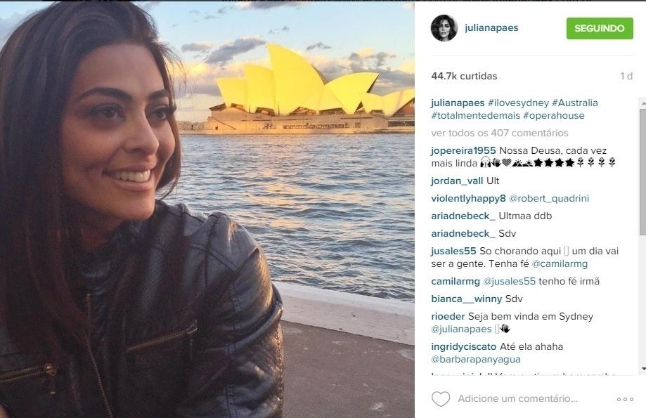 Juliana Paes faz foto em frente ao Opera House, em Sydney
