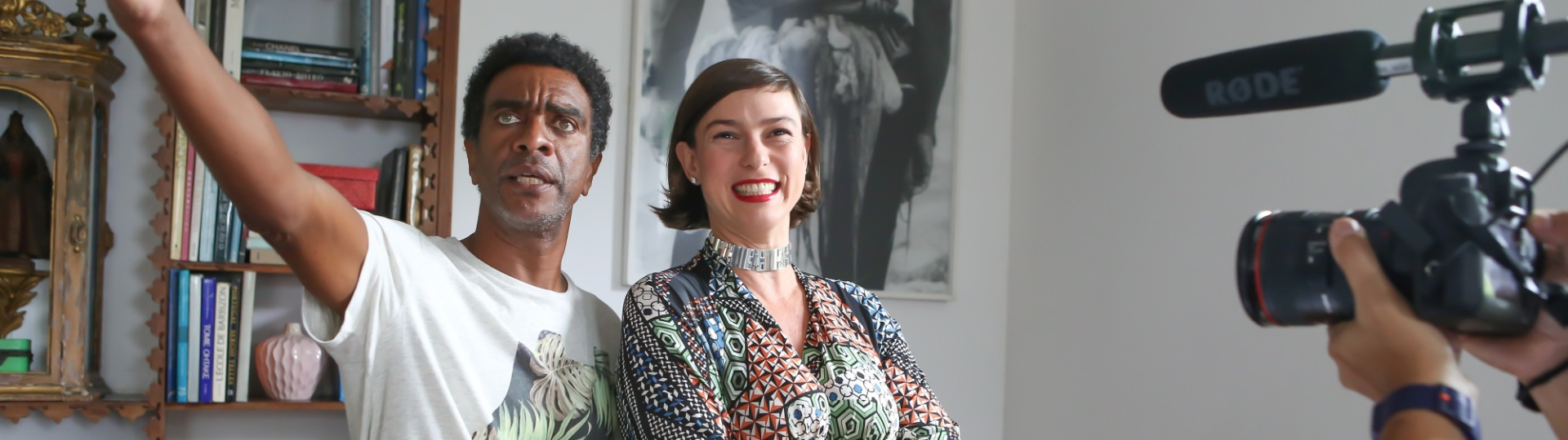 Hélio De La Peña e Maria Paula nas gravações de