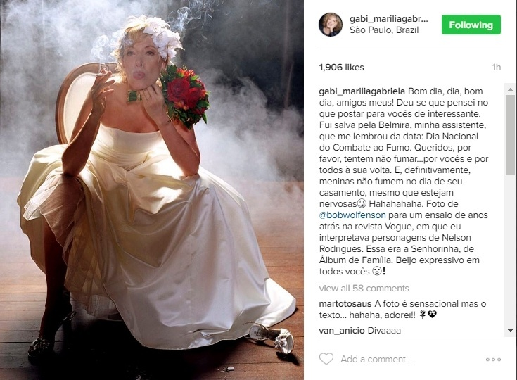 29.ago.2016 - Marília Gabriela abriu o dia de seu Instagram com uma publicação sobre o Dia Nacional do Combate ao Fumo. Com uma foto em que aparece fumando, em meio a muita fumaça e vestida de noiva, feita para um ensaio de uma revista, ela faz um pedido para que seus seguidores tentem não fumar