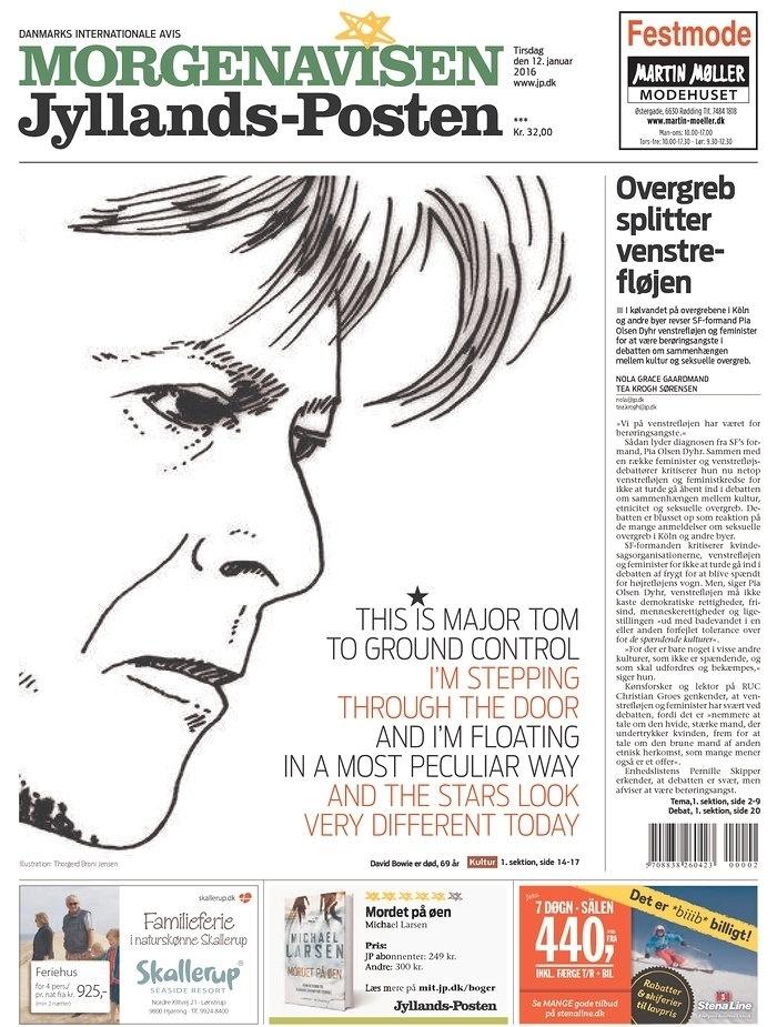 O jornal dinamarquês de Viby dedicou boa parte da capa a um desenho de Bowie com a letra da música de