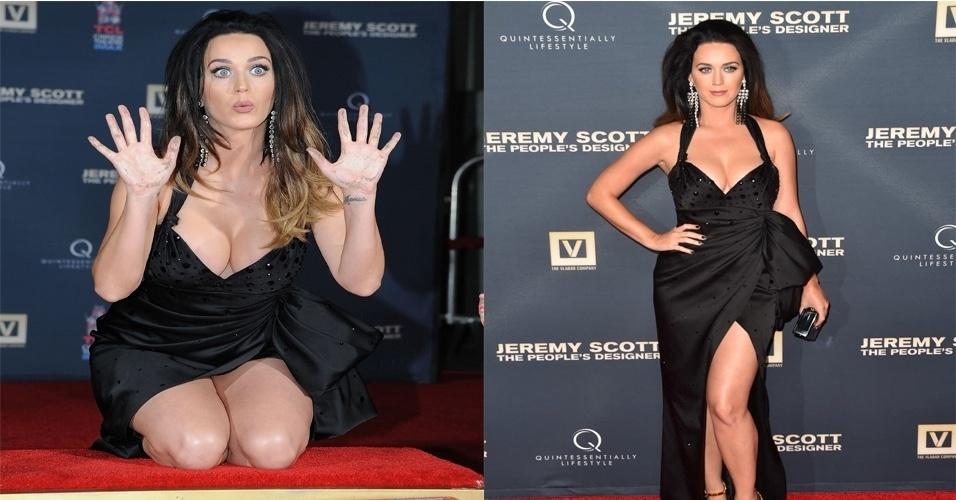 8.set.2015 - Nesta terça-feira, Katy Perry chamou a atenção ao usar um vestido decotado na pré-estreia do filme