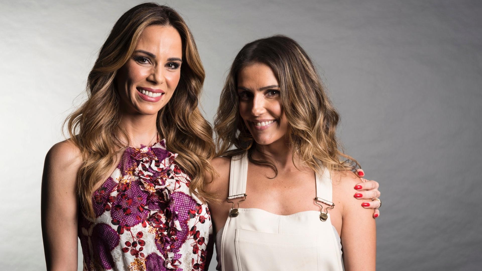 Ana Furtado e Deborah Secco nos bastidores de gravação da campanha de fim de ano 2016 da Rede Globo