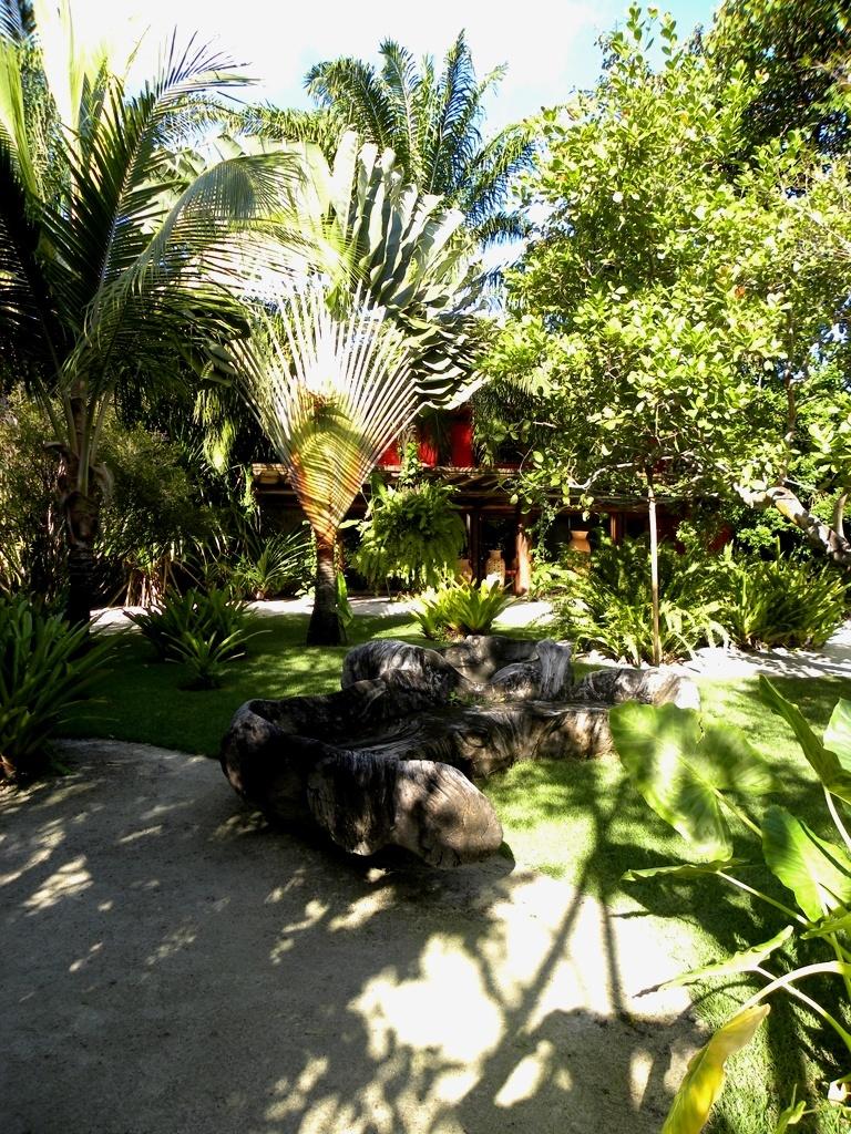 As belas palmeiras ravenalas, popularmente conhecidas como palmeira-dos-viajantes (Ravenala madagascariensis) junto  aos coqueiros (Cocos nucifera L.) dividem o espaço com o gramado formado pela grama esmeralda, desenhos orgânicos compostos pelas porções de areia e um banco feito com tronco de árvore. O jardim com 11 mil m² foi projetado pelo paisagista Marcelo Faisal para uma residência em Trancoso, na Bahia