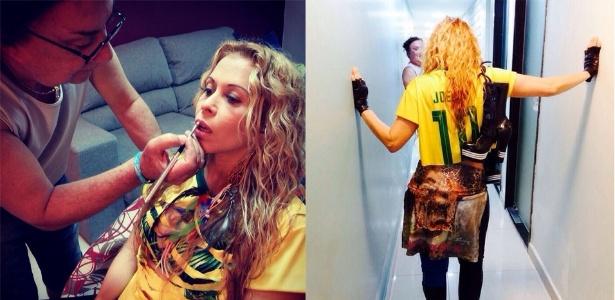 Joelma usa camisa do Brasil personalizada com o seu nome para gravação do clipe