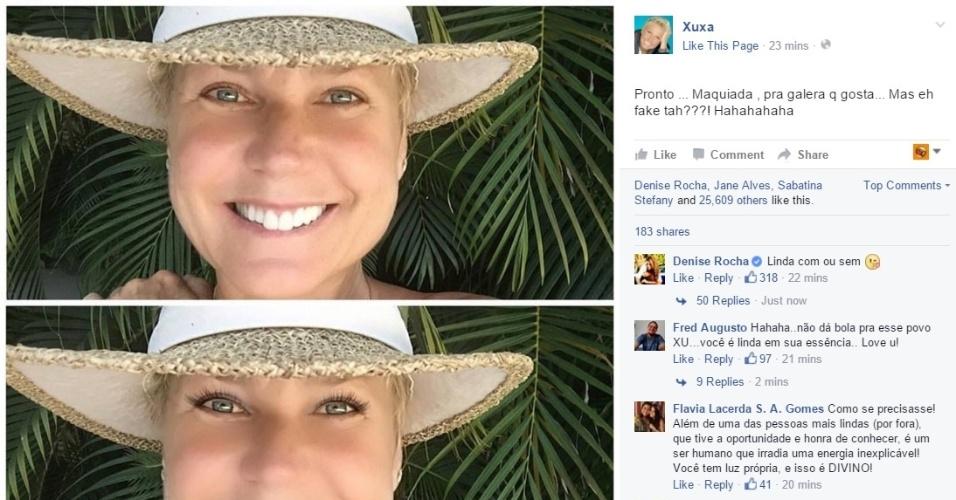 22.dez.2015 - Xuxa ironiza internautas e posta foto maquiada