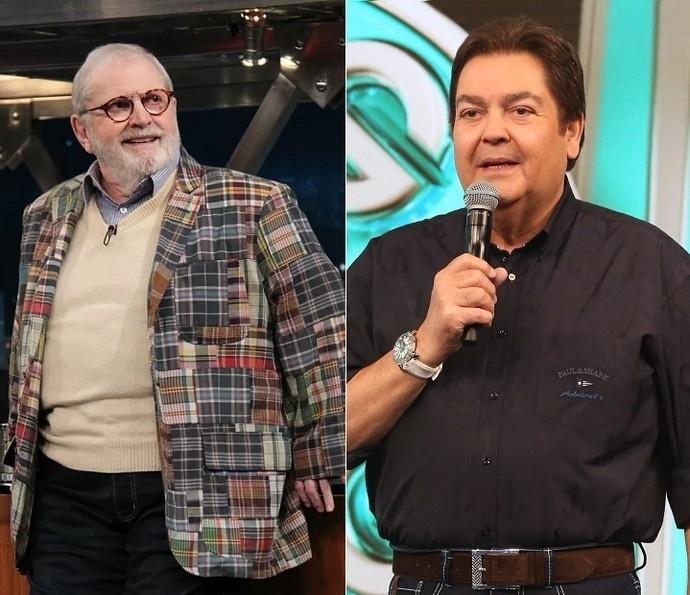 Montagem com Jô Soares e Fausto Silva, apresentadores da Globo