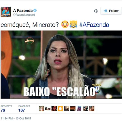 13.out.2015 - Minerato diz que foi ofendida com palavras de baixo