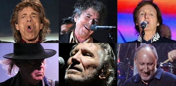 Rolling Stones, Bob Dylan, Paul McCartney, Neil Young, Roger Waters e The Who