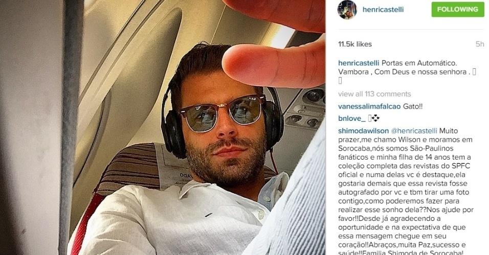 3.jun.2015 - Henri Castelli posta foto no avião indo para Maceió prestar depoimento