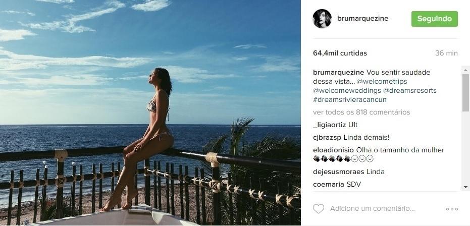 07.ago.2016 - De férias em Cancun, no México, Bruna Marquezine presenteou seu seguidores do Instagram com fotos de paisagens belíssimas em que aparece apenas de biquíni. Na última foto publicada, a atriz sensualiza e reflete sobre a folga: