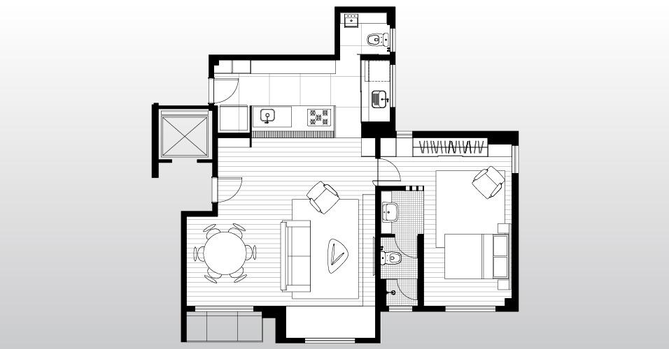 Planta do apartamento em São Paulo (SP) reformado pelo Grupo Garoa Arquitetos mostra os espaços sociais integrados (living e cozinha) e a suíte
