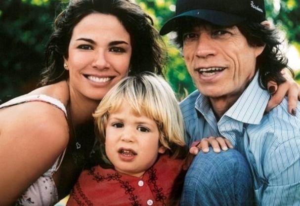 Luciana Gimenez com o filho, Lucas Jagger, e o cantor Mick Jagger