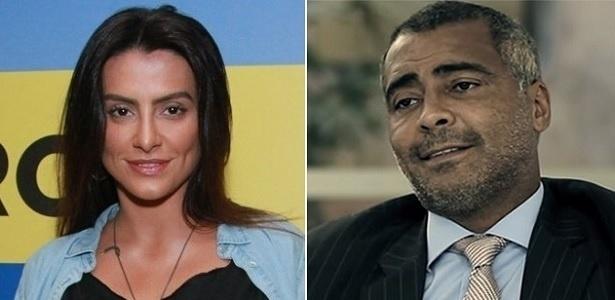 A atriz Cleo Pires (à esquerda) e o ex-jogador e senador Romário