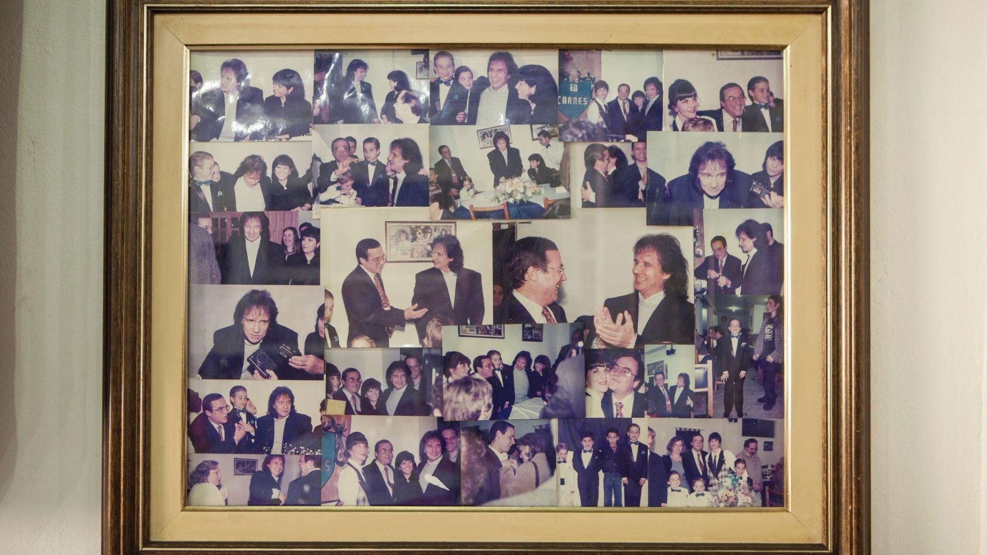 Fotos do cantor Ed Carlos, que estão expostas na parede de seu restaurante Ed Carnes