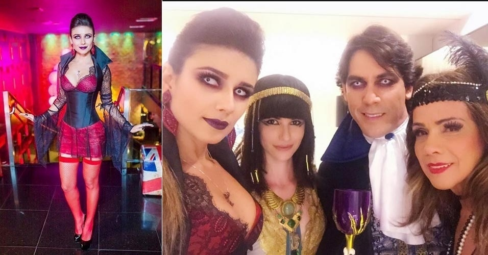 26.ago.2015 - Fantasiada de vampira, Paula Fernandes comemora aniversário de 31 anos