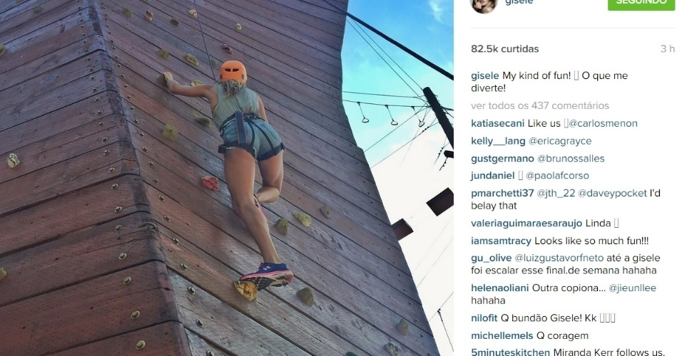 6.jul. 2015 - Na tarde desta segunda-feira (6), Gisele Bündchen publicou uma foto no Instagram em que aparece toda equipada fazendo uma escalada