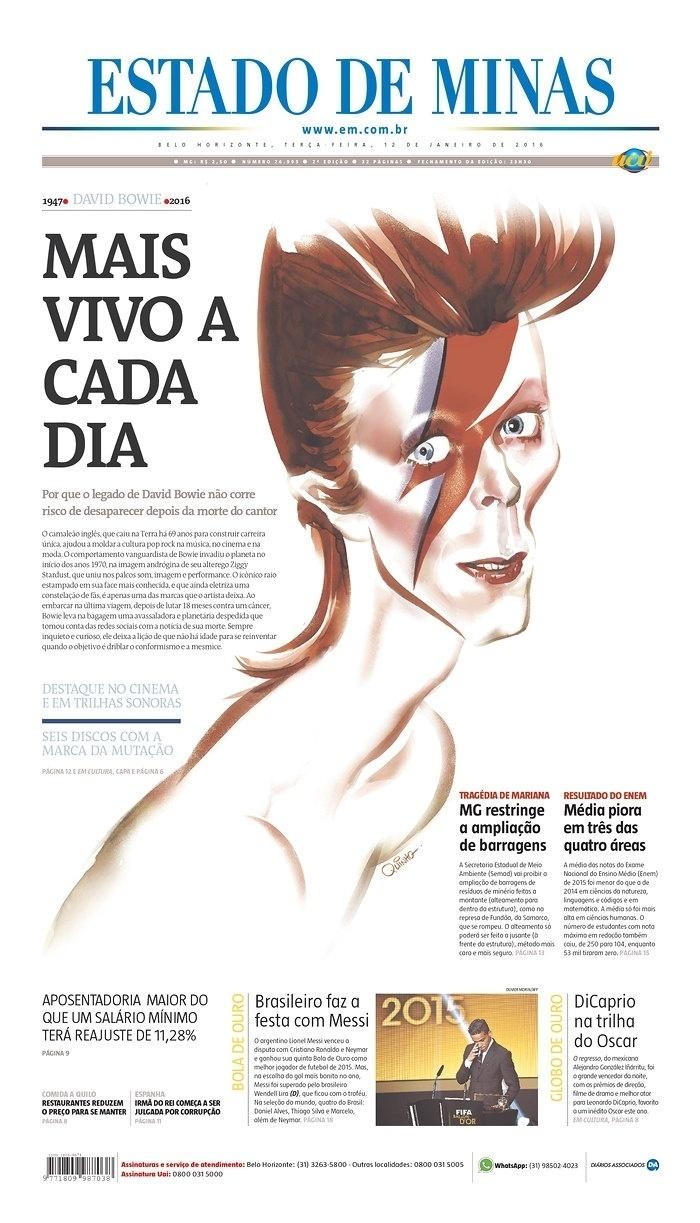 O Brasil também homenageou David Bowie na capa. O jornal